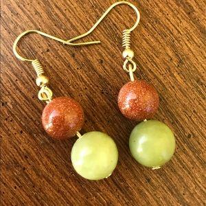 Handmade bloodstone and green aventurine earrings